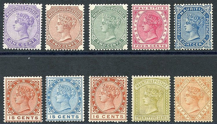 1883-94 CCA set (excl. 4c orange) M, SG.101/111. (10) Cat. £140