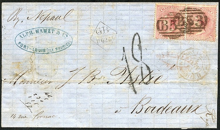 1862 part envelope written from Port Louis addressed to Bordeaux,