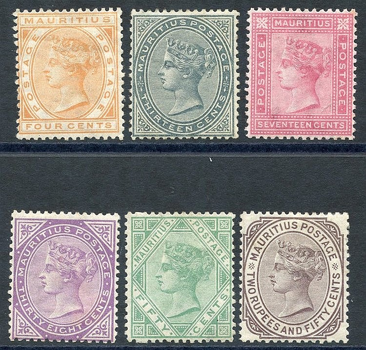 1879-80 CCC 4c, 13c, 17c, 38c, 50c & 2r.50 (crease), all M or o.g
