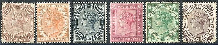 1879-80 CCC 2c, 4c, 13c, 17c, 50c & 2r.50, M or part o.g. (odd pe