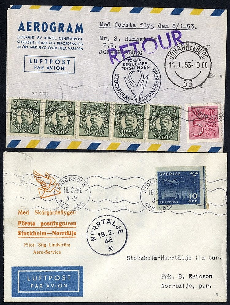 1937-60 first flight covers incl. DNL first flight Stockholm/Oslo