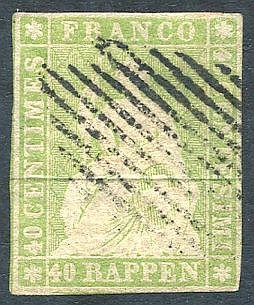 1854 40r pale green (green thread) FU with clear to good margins,
