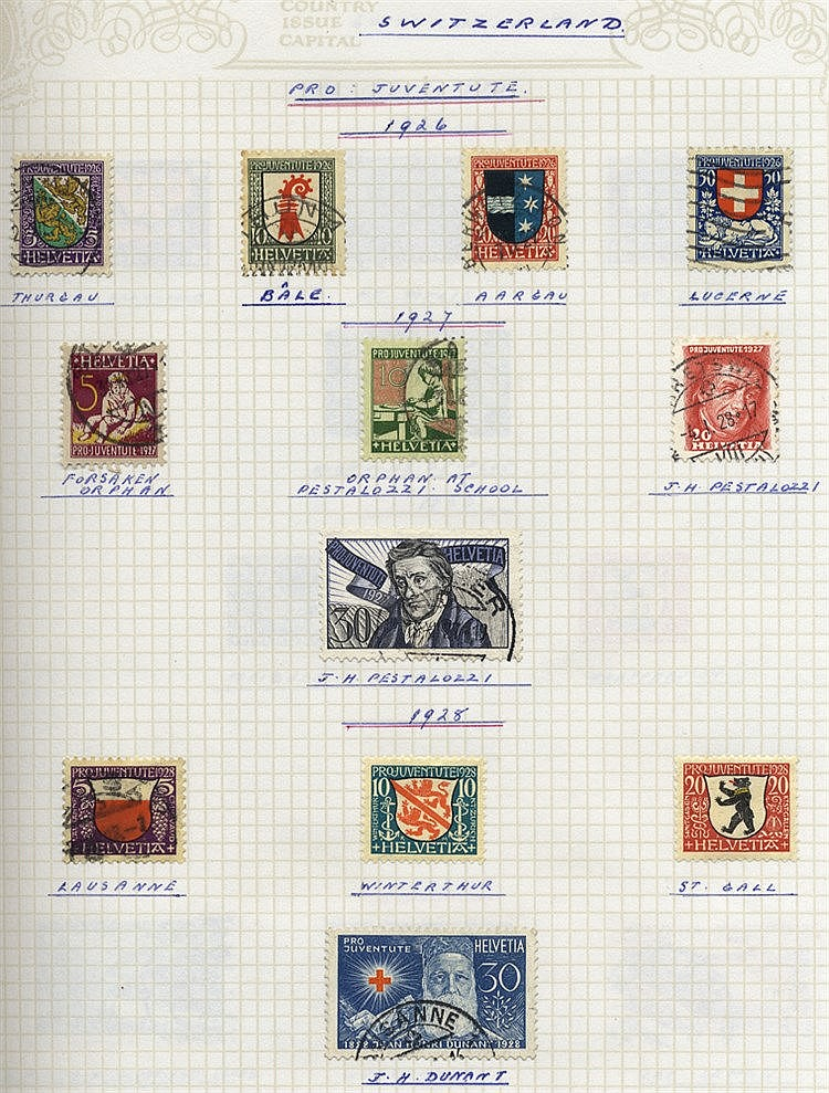 1862-1983 M & U collection on leaves with many Pro Juventute & Pr