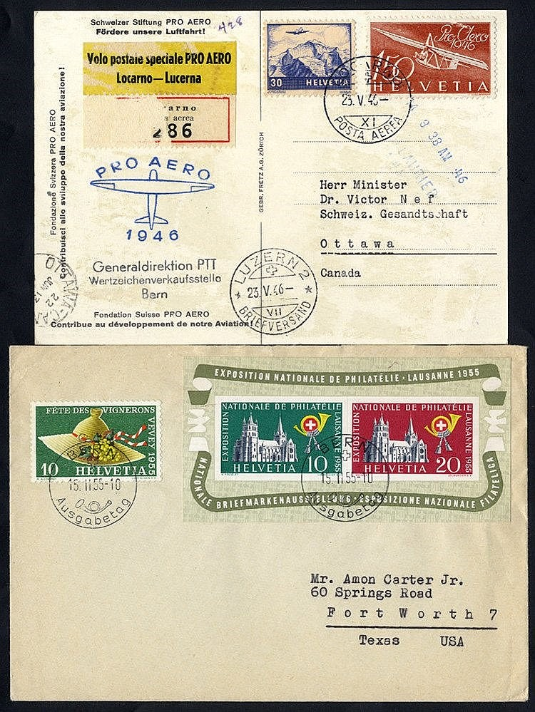 1915 env to Basle franked '1' on 2c (2) & 3c Young Tell, tied by
