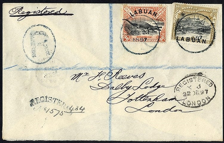1897 registered envelope to London franked 12c Crocodile & 18c Mo