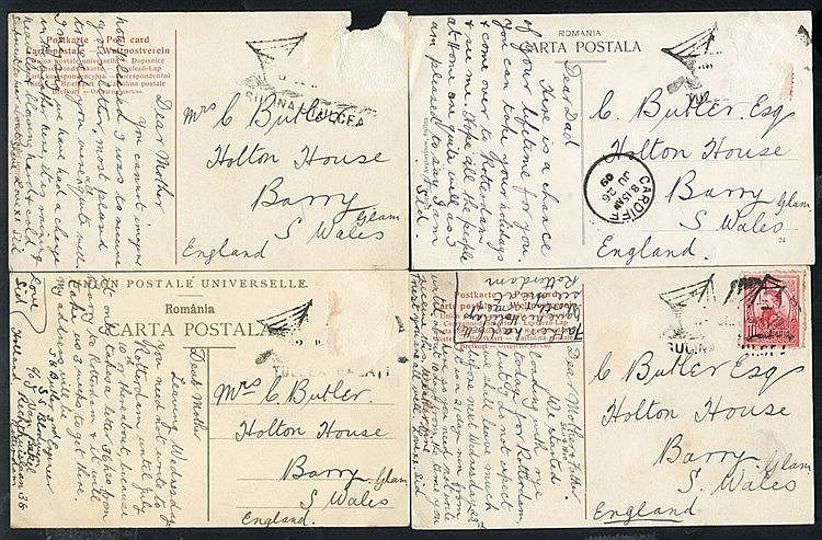 1909 postcards (4) to England from same correspondence, one with