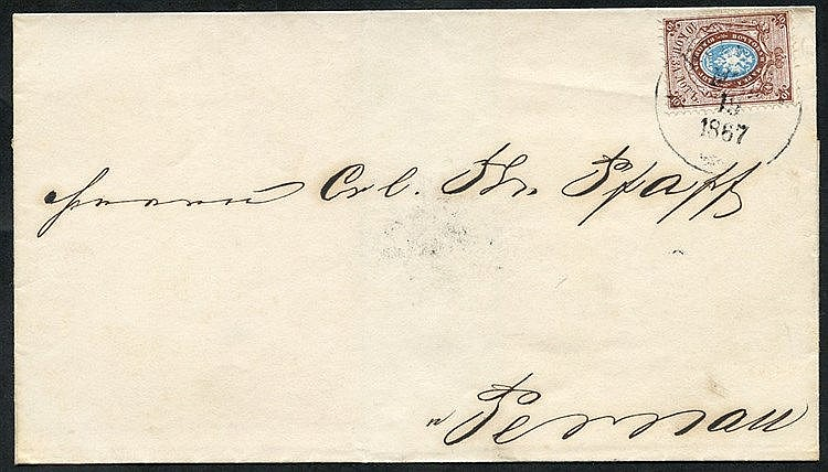 1867 Outer letter sheet to Pernau (b/stamp arrival d/stamp Mar 10