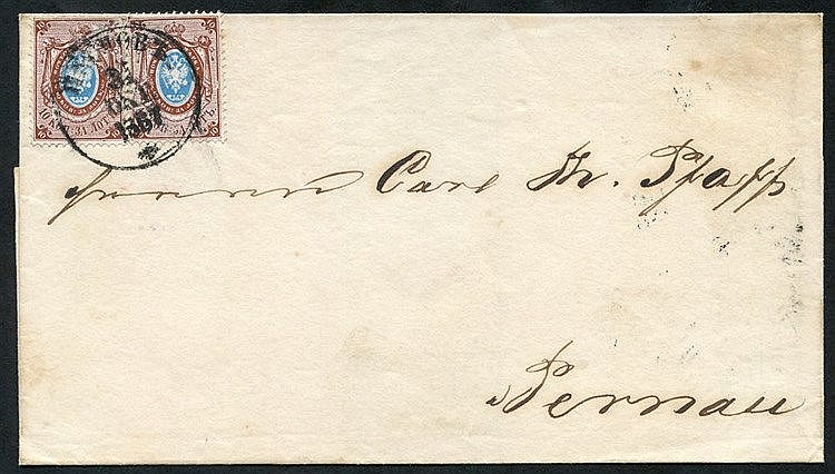 1867 (Oct) Outer letter sheet bearing a pair of 1864-65 10k blue