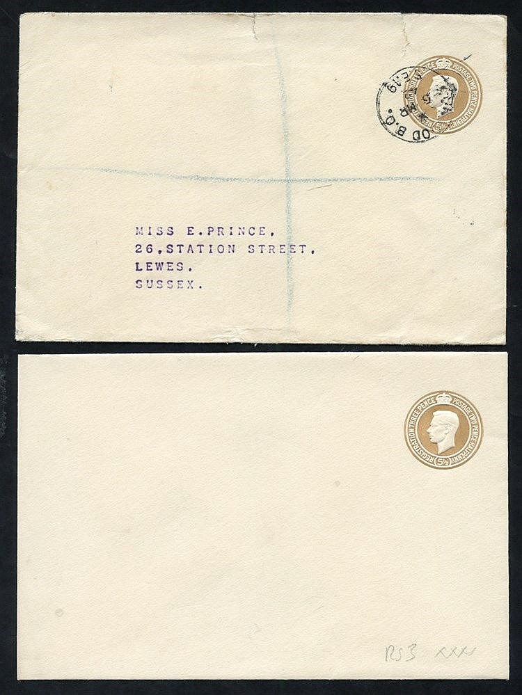 1942 KGVI 5½d brown envelopes, fine M, RS3 (XXXX) - very few know
