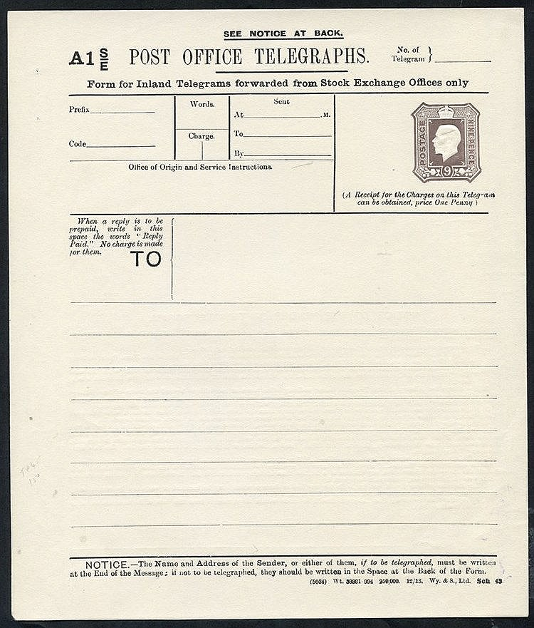 KGV P.O Telegraph 9d die Stock Exchange, Huggins TP45 (Cat. £150)