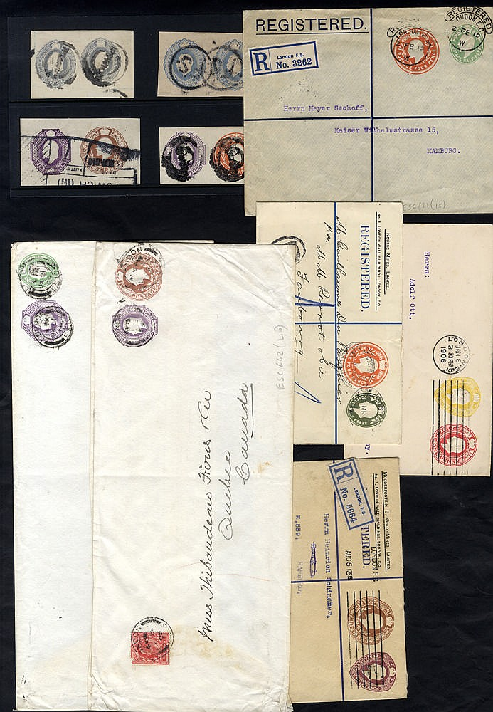 1906-13 KEVII used double compound envelope plus 4 cut-outs incl.