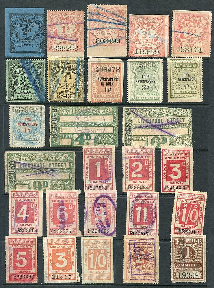RAILWAY PARCEL STAMPS selection of 124 different from various com