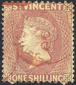 1872-75 Perf 11 to 12½ x 15 1s lilac rose U, red St. Vincent c.d.