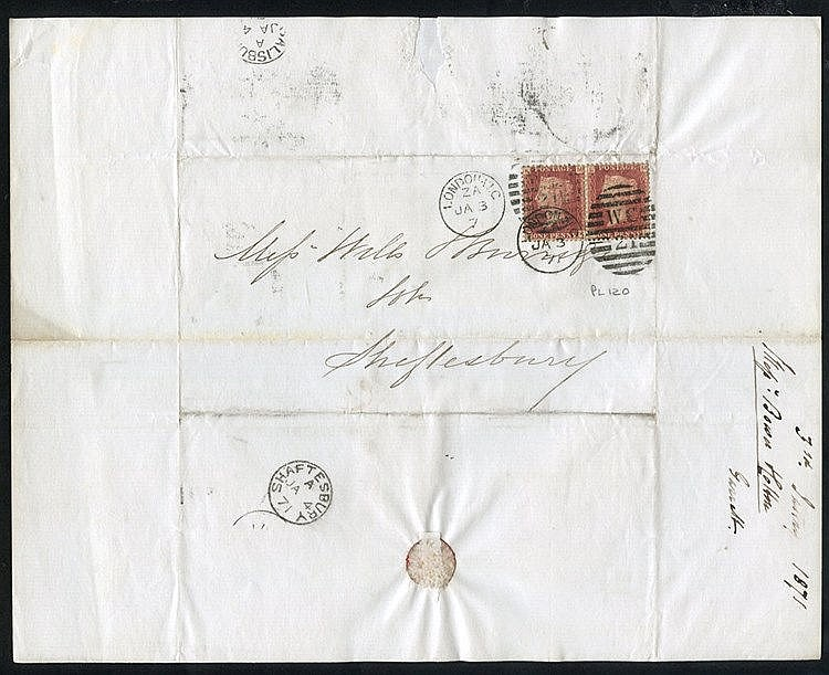 1869-74 Correspondence between London & Shaftesbury bearing a var