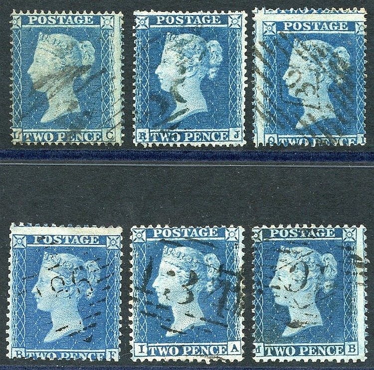 1854-55 2d Stars group of six, good to FU examples, SG.20a & five