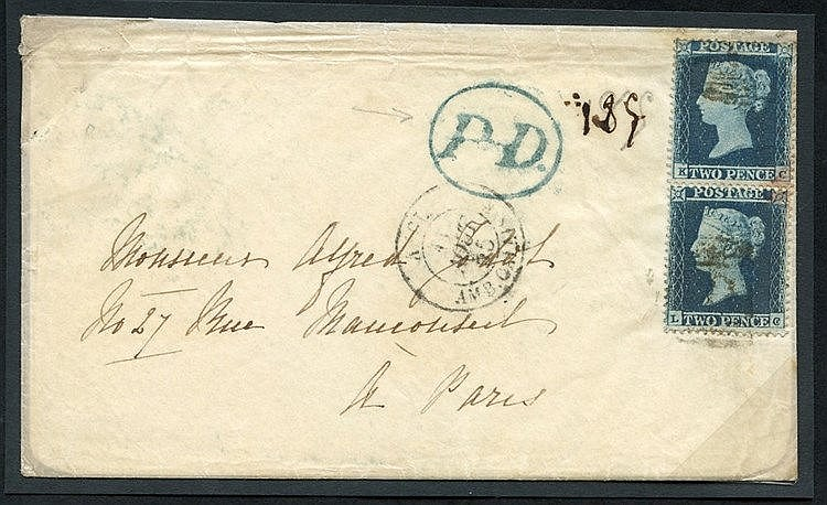 1855 envelope from Margate to Paris, franked pair of 2d Small Cro