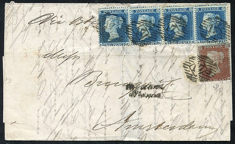 1855 cover from London to Amsterdam, franked 2d blue Pl.4 BF/BI h