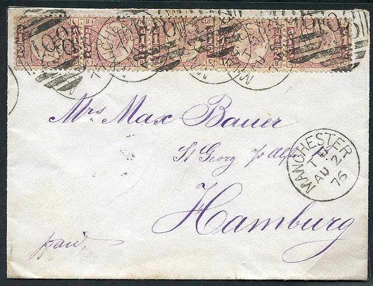 1876 Aug 2nd envelope from Manchester to Hamburg (addressed in pu