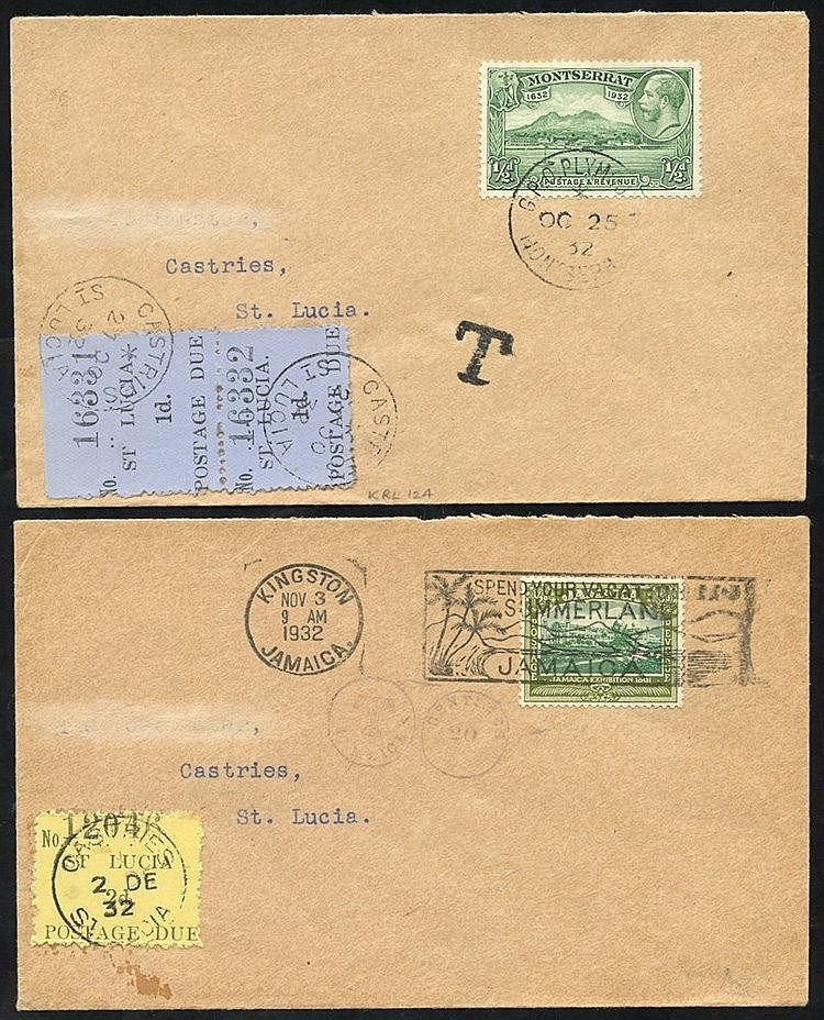1932 two covers from Jamaica U Montserrat both bearing St. Lucia