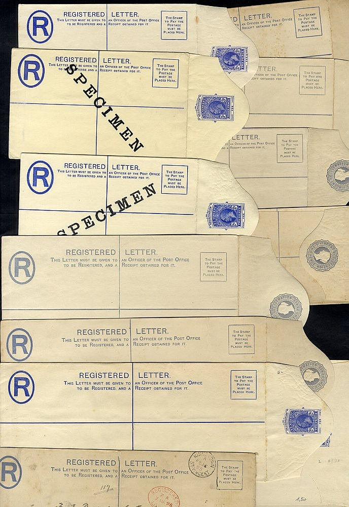 QV-KGVI registered stationery envelopes mainly unused noted KGV 2