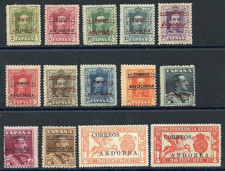 SPANISH POST OFFICE IN ANDORRA 1928 Type A 25c to 10p (SG.7A/13A)