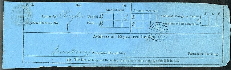 1851 reg letter receipt, cancelled by a blue Kington De.18.1851 c