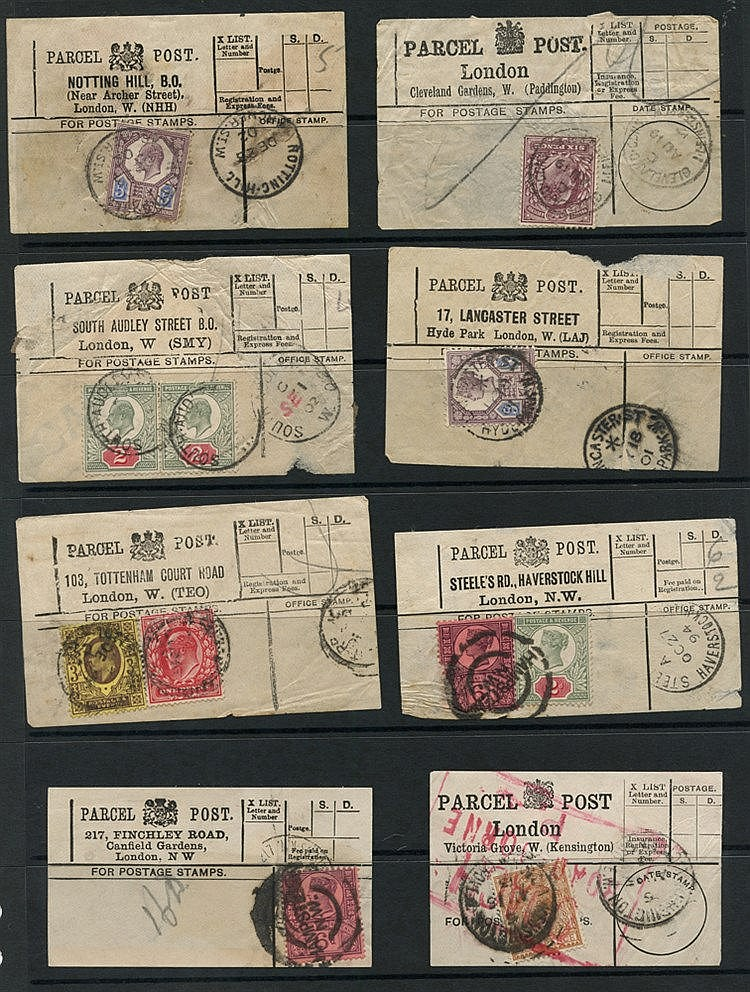1894-1918 PARCEL POST LABELS selection of 18 from London bearing