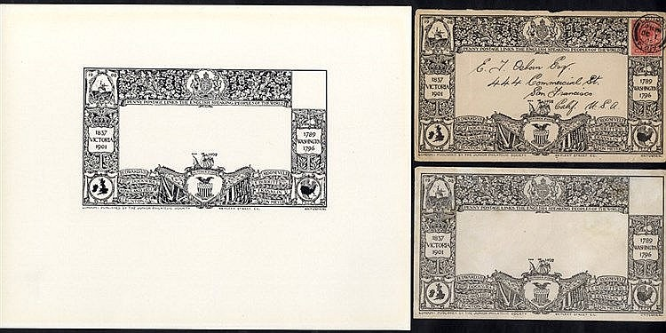 1908 Junior Philatelic Society Penny Envelope black & white proof
