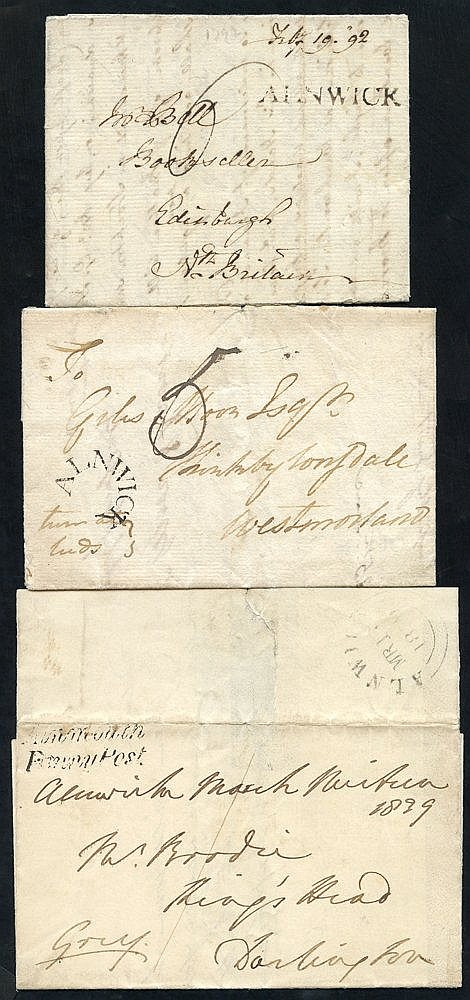 ALNWICK 1767-1858 a superb range of covers neatly written up on l