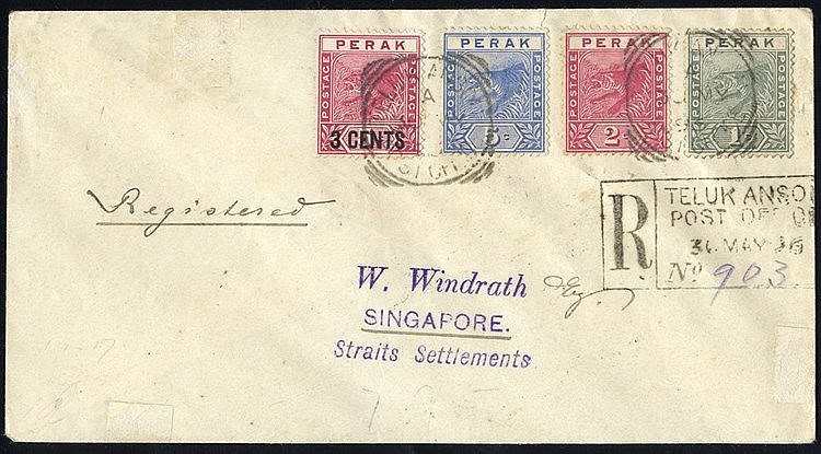 PERAK 1896 reg cover to Singapore franked 1c, 2c & 5c & 3c Surcha