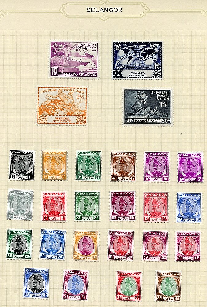 SELANGOR 1935-65 M & U collection on leaves incl. 1935 Defin set
