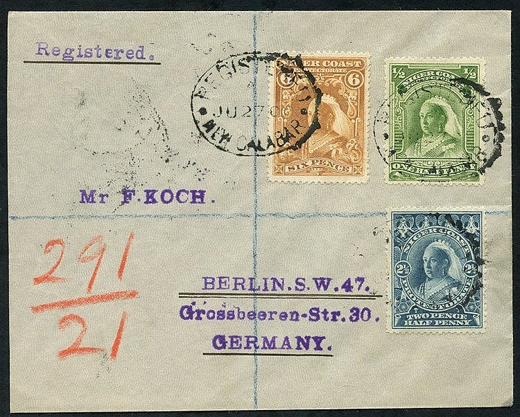 1900 (27 Jun) envelope reg to Berlin, bearing 1897 ½d, 2½d & 6d,