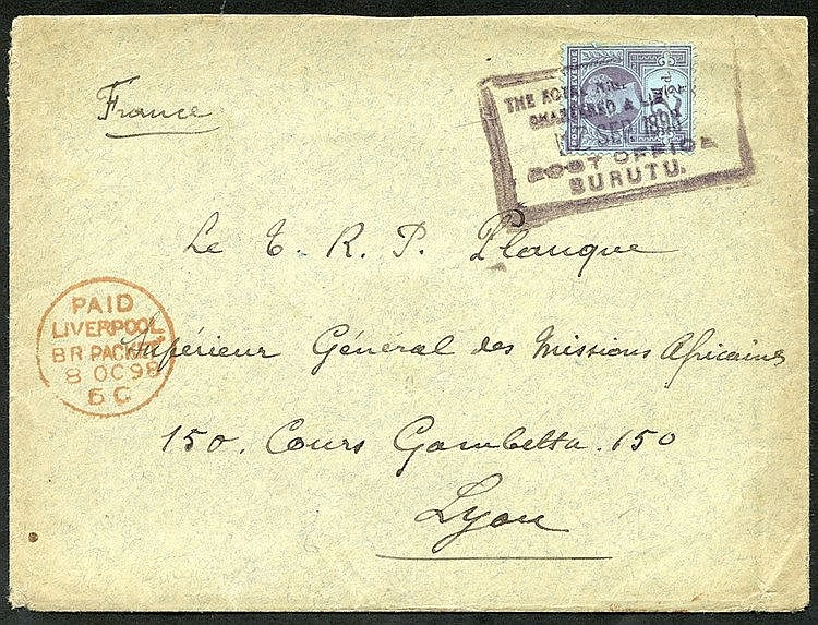 1898 (17 Sep) envelope to France bearing GB 2½d purple on blue, t