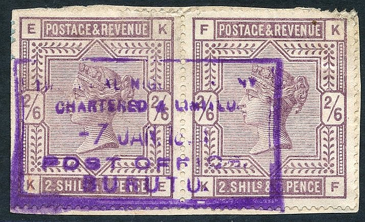 1899 (7 Jan) fragment bearing GB 2/6d lilac pair, cancelled by la
