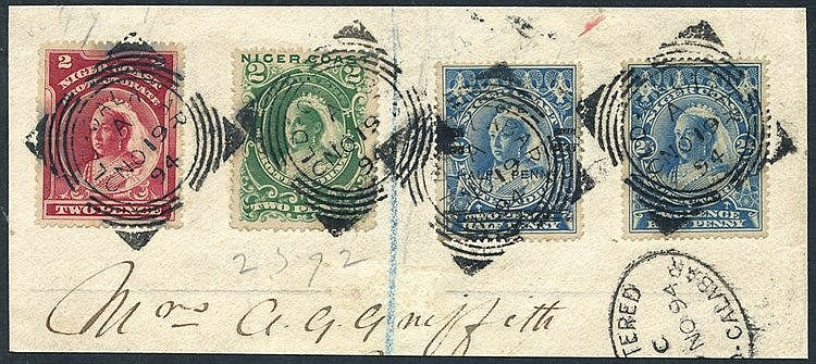 1894 ½d on 2½d blue showing variety 'OIE' for 'ONE' used with 189