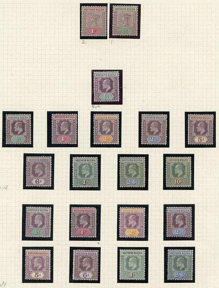 NIGERIAS on leaves. Lagos incl. 1904-06 2/6d, 5s, 10s M, Northern