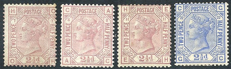 1873-80 Wmk Orb 2½d rosy mauve - Pl.7 unused/re-gummed, Pl.8 M (c