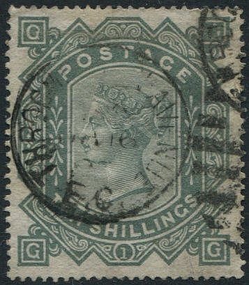 1867 Wmk Maltese Cross 10s greenish grey, good colour FU with Thr