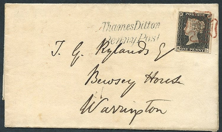 1840 15th May Usage cover from Kingston franked Pl. 1a fine large