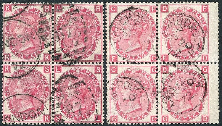 1871-72 3d rose Pl.7 & Pl.8, each VFU block of four, SG.102/3. (2