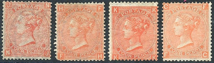 1865-73 4d vermilion Pl.8, Pl.9 (rounded corner), Pl.12 (tiny clo