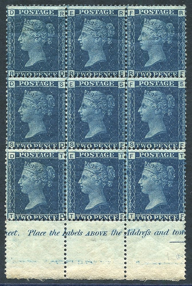 1858-76 2d blue Pl.15 lower marginal M block of nine (6x UM) lett
