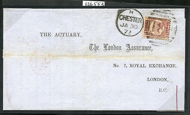 1872 Jan 30th cover from Chester to London, franked ½d Bantam Pla