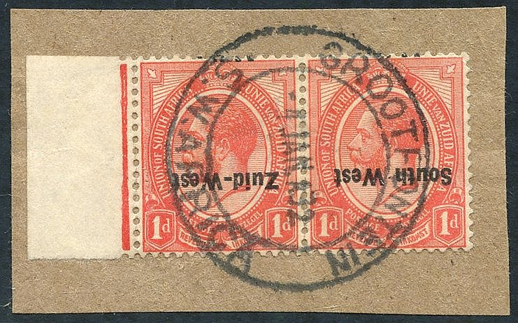 1923 1d rose-red bi-lingual pair with ovpt inverted, FU on small