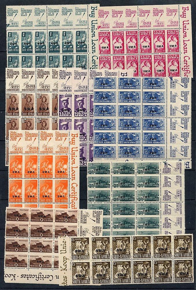1943-44 War Effort set in UM marginal blocks of four - ½d & 1d, b