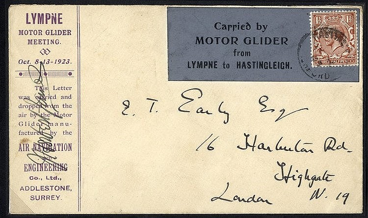 1923 Oct 13th Motor Glider flight Lympne - Hastingleigh special c