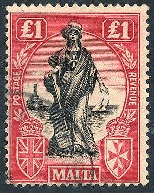 1922-26 £1 black & bright carmine wmk upright VFU, SG.140. (1) Ca