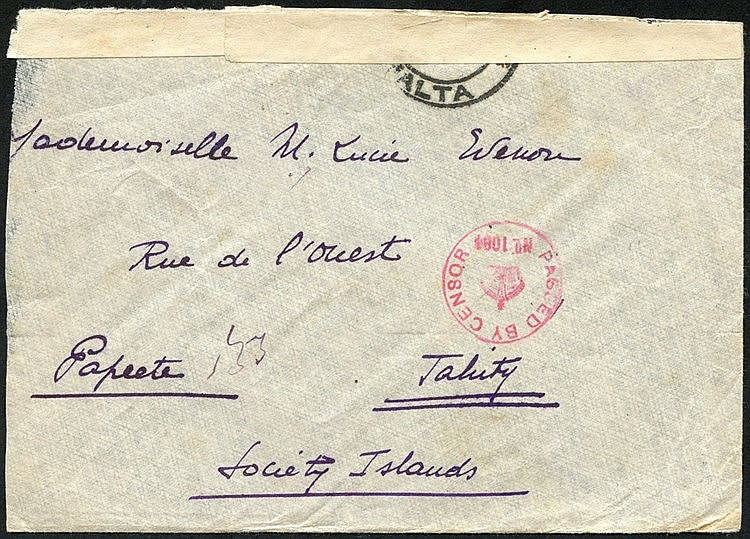 1915 Military mail envelope cancelled by Valetta/Malta double rin