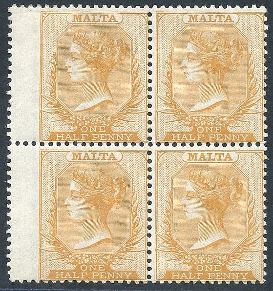 1863-81 CCC ½d yellow buff, fresh M block of four, SG.10. Cat. £3