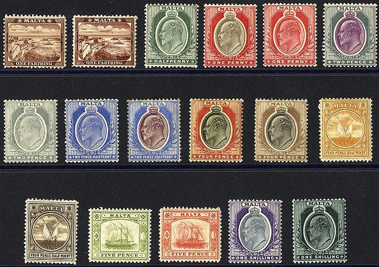 1904-14 MCCA set to 1s (both) M (4d fault & odd tone noted), SG.4